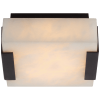 Covet Low Clip Solitaire Flush Mount in Bronze with Alabaster