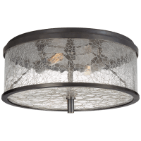 Liaison Medium Flush Mount in Bronze with Crackle Glass