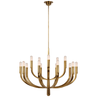 Verso Grande Tiered Chandelier in Antique-Burnished Brass with Clear Glass