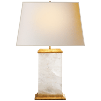 Crescent Table Lamp in Quartz and Antique Gold Leaf with Natural Paper Shade