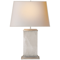 Crescent Table Lamp in Quartz and Antique Silver Leaf with Natural Paper Shade