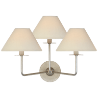 Kelley Medium Triple Sconce in Burnished Silver Leaf with Linen Shades