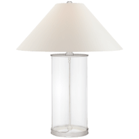 Modern Table Lamp in Polished Silver with White Paper Shade