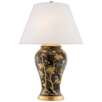 Gable Table Lamp in Black and Gold Porcelain with Silk Shade