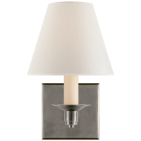 Evans Single Arm Sconce in Antique Nickel with Percale Shade