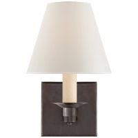 Evans Single Arm Sconce in Bronze with Percale Shade