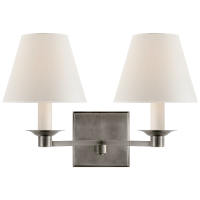Evans Double Arm Sconce in Antique Nickel with Percale Shade