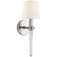 Sable Tail Sconce in Crystal and Polished Nickel with Linen Shade