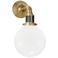 McCarren Single Sconce in Natural Brass with White Glass