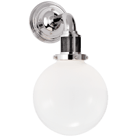 McCarren Single Sconce in Polished Nickel with White Glass