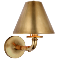 Dalfern Medium Single Sconce in Waxed Bamboo and Natural Brass  with Natural Brass Shade