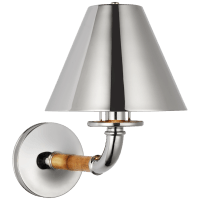 Dalfern Medium Single Sconce in Waxed Bamboo and Polished Nickel  with Polished Nickel Shade
