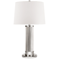 Allen Table Lamp in Polished Nickel and Glass Rods with White Paper Shade