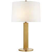 Barrett Medium Knurled Table Lamp in Natural Brass with Linen Shade