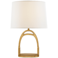 Westbury Table Lamp in Natural Brass with Linen Shade