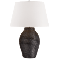 Lohan Large Table Lamp in Black Rattan with White Paper Shade