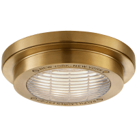 """Grant 6.25"""" Solitaire Flush Mount in Natural Brass"""