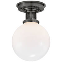 McCarren Small Flush Mount in Bronze with White Glass
