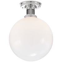 McCarren Medium Flush Mount in Polished Nickel with White Glass