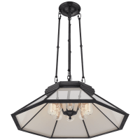Rivington Medium Eight-Paneled Chandelier in Bronze with White Glass