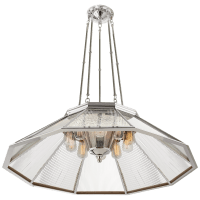 Rivington Large Ten-Paneled Chandelier in Polished Nickel with Clear Glass