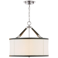 Broomfield Small Hanging Shade in Polished Nickel and Chocolate Leather with Linen Shade