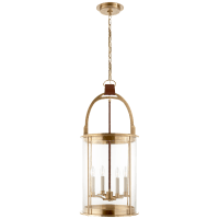 Westbury Lantern in Natural Brass and Saddle Leather