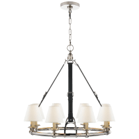 Westbury Chandelier in Polished Nickel and Chocolate Leather with Linen Shades