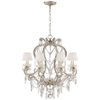 Adrianna Small Chandelier in Antique Silver Leaf and Crystal with Silk Shades