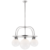 McCarren Single Tier Chandelier in Polished Nickel with White Glass