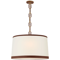 Cody Large Hanging Shade in Natural Brass with Linen Shade and Saddle Leather Trim