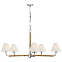 Dalfern Large Chandelier in Waxed Bamboo and Polished Nickel with White Parchment Shades