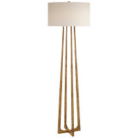 Scala Large Hand-Forged Floor Lamp in Gilded Iron with Natural Percale Shade
