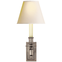 French Single Library Sconce in Antique Nickel with Natural Paper Shade