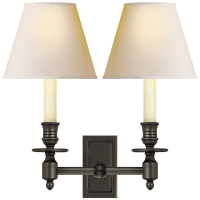 French Double Library Sconce in Bronze with Natural Paper Shades