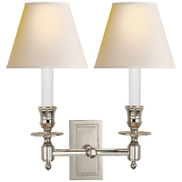 French Double Library Sconce in Polished Nickel with Natural Paper Shades