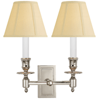 French Double Library Sconce in Polished Nickel with Tissue Shades