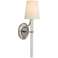 Abigail Large Sconce in Polished Nickel and Clear Wavy Glass with Linen Shade