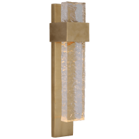 Brock Medium Sconce in Soft Brass and Clear Wavy Glass