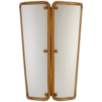 Hastings Small Sconce in Hand-Rubbed Antique Brass with White Shade