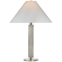Durham Large Table Lamp in Polished Nickel with Linen Shade