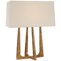 Scala Hand-Forged Bedside Lamp in Gilded Iron with Natural Percale Shade