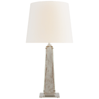 Cadence Large Table Lamp in Polished Nickel and Antique Mirror with Linen Shade