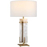 Malik Large Table Lamp in Hand-Rubbed Antique Brass and Alabaster with Linen Shade