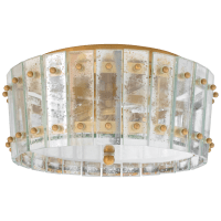 Cadence Small Single-Tier Flush Mount in Hand-Rubbed Antique Brass with Antique Mirror