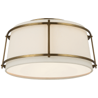 Callaway Small Flush Mount in Hand-Rubbed Antique Brass with Linen Shade and Frosted Acrylic Diffuser