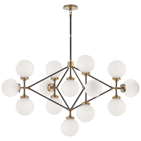 Bistro Four Arm Chandelier in Hand-Rubbed Antique Brass and Black with White Glass