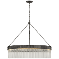 Menil Large Chandelier in Bronze with Crystal Rods