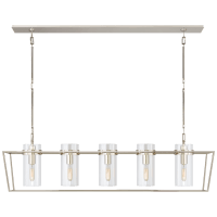 Presidio Large Linear Lantern in Polished Nickel with Clear Glass