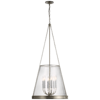 """Reese 22"""" Pendant in Polished Nickel with Clear Glass"""